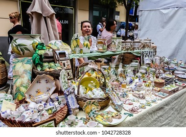 Sorrento, Italy July 16,2017: Souvenirs for sale in Sorrento, Italy