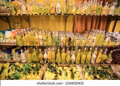 Sorrento, Italy - June 12, 2017:  Bottles of Limoncello and Lemon related products  in a souvenir shop in Sorrento Italy