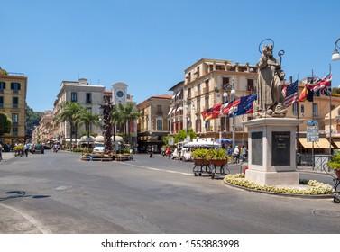 Sorrento, Italy - June 12, 2017: Piazza Tasso, the main square of Sorrento,  Italy.