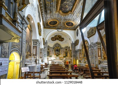 Sorrento, Italy - September 18 2017: The interior of the Church of Santa Maria delle Grazie the burial place of the respectued nun Sister Maria Luisa Maresca in the Coastal village of Sorrento, Italy