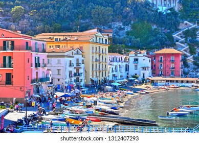 SORRENTO ITALY SEPTEMBER 30 panorama of the port and historical center of the village September 30 2018 Sorrento Italy