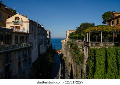 Sorrento,Campania/Italy- December 16, 2018: Amazing view of the harbor and cliffs of Sorrento. Travel concept.