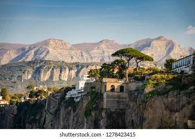Sorrento,Campania/Italy- December 16, 2018: Luxury hotels and buildings of Sorrento on Amalfi coast. Travel concept.