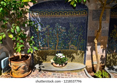 Sorrento,Campania/Italy-April 2nd 2018 Sorrento is a small city in Campania, Italy. This mosaic is on a wall in the old Town