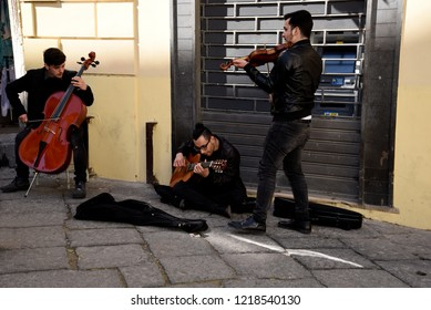 Sorrento,Campania/Italy-April 2nd 2018 Sorrento is a small city in Campania, Italy. It is a popular tourist destination. Musicians entertain the tourists inthe narrow streets of the old town
