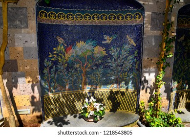Sorrento,Campania/Italy-April 2nd 2018 Sorrento is a small city in Campania, Italy. It is a popular tourist destination. This mosaic is on a wall in the old Town