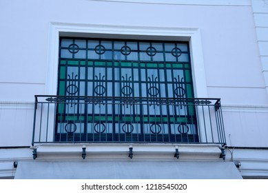 Sorrento,Campania/Italy-April 2nd 2018 Sorrento is a small city in Campania, Italy. It is a popular tourist destination. This is a modern Art Deco style window and french balcony in the town cntre