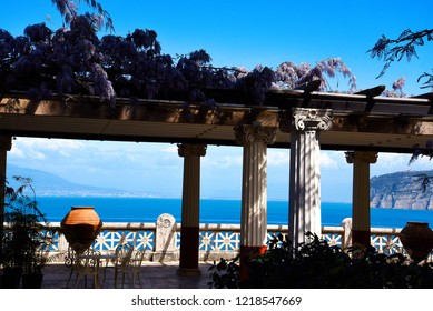 Sorrento,Campania/Italy-April 2nd 2018 Sorrento is a small city in Campania, Italy. It is a popular tourist destination. This beautiful Terrace is overlooking the Bay of Naples from the clifftops