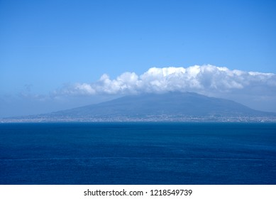 Sorrento,Campania/Italy-April 2nd 2018 Sorrento is a small city in Campania, Italy. It is a popular tourist destination. This view of Mount Vesuvius is from the cliffs of Sorrento