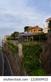 Sorrento,Campania/Italy-April 4th 2018. Sorrento is a small city in Campania, Italy. It is a popular tourist destination. This terrace is over the gorge down to the ferry port in the bay of Naples
