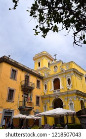 Sorrento,Campania/Italy-April 4th 2018Sorrento is a small city in Campania, Italy. It is a popular tourist destination. This is the yellow church of the Madonna del Carmine in the town centre