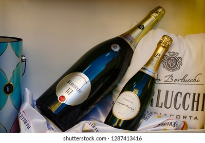 Sorrento,Campania/Italy-December 16,2018: Berlucchi wine and Laurent perrier champagne in shop window display.