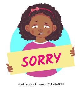 Sorry banner. Sad African or Afro-American girl holding poster - Sorry.