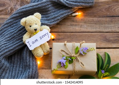 Entschuldige Kreditkartenhandschrift mit Geschenkbox , heller Teddybär und Strickwoll-Schal im Wintersaison Arrangement flach auf Holzhintergrund