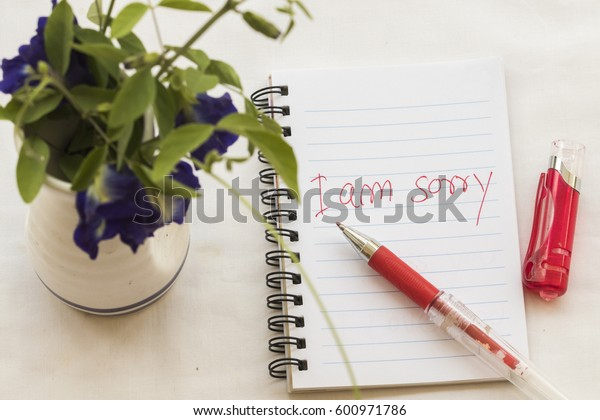 i am sorry message card write on notebook with flowers romantic