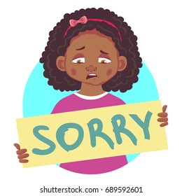 I am sorry message. Sad african girl holding poster with word Sorry.