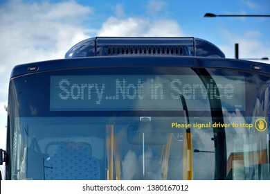 Sorry not in service and Please signal driver to stop bus signs