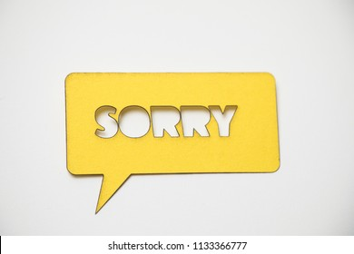 Sorry. Sorry. Sorry. Speech bubble sticker with sorry. Paper cut work.