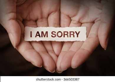 I am sorry text on hand design concept