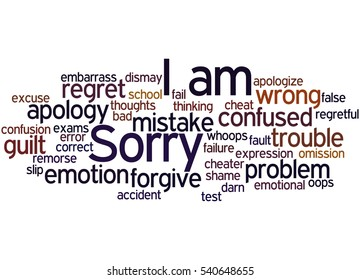I am Sorry, word cloud concept on white background.