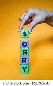 SORRY word made with building blocks.