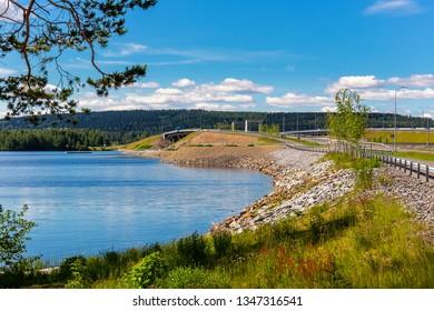 Sorsasalo bridge over Kallavesi. Kuopio, Finland. Summertime.Lake with vibrant colors.