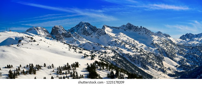 Sort village ski resort in Bonaigua port Lerida Catalonia of Aran Valley at Pyrenees Spain