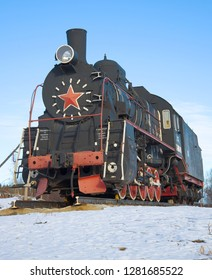 "SORTAVALA, RUSSIA - FEBRUARY 18, 2017: Russian and Soviet steam locomotive ""Er-788-82"" close-up February day. Monument at the railway station of the city of Sortavala. Karelia"