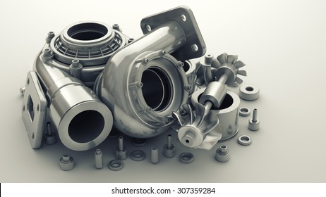 sorted turbocharger of car. High resolution 3d