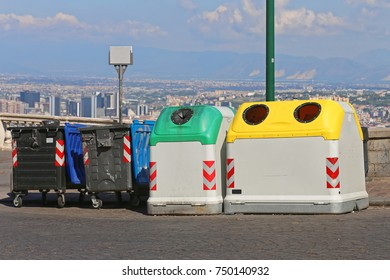 Sorting Containers and Recycling Trash Garbage Bins in Naples