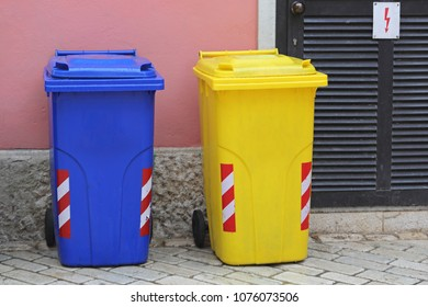 Sorting and Recycling Plastic Trash Cans