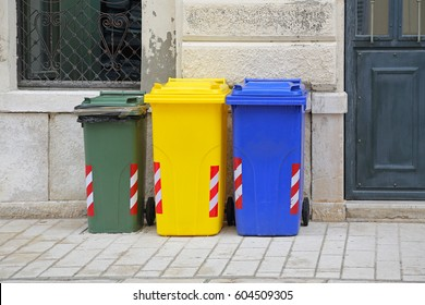 Sorting and Recycling Plastic Wheelie Bins Trash Cans