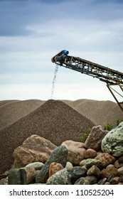 Sorting sand at gravel pit