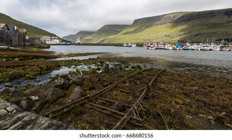 Sorvagur Harbour harbor in iceland showing Mykines ferry