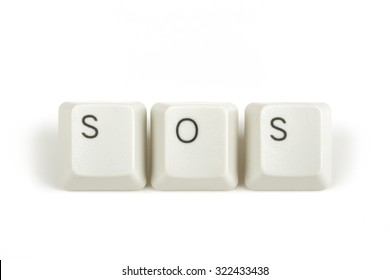 SOS text from scattered keyboard keys isolated on white background