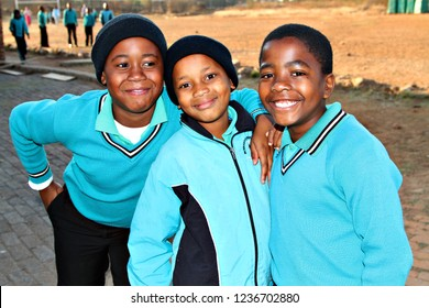 SOSHANGUVE, SOUTH AFRICA - 8 MAY 2016: A group of schoolchildren at Soshanguve in Gauteng. In 2013, the South African government spent 21% of the national budget on education. Editorial.