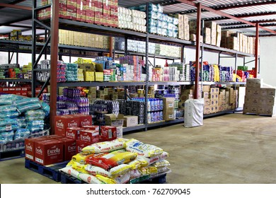SOSHANGUVE, SOUTH AFRICA - 8 NOVEMBER 2017: Bulk merchandise & stock piled on shelves at an informal cash & carry trader. The SA informal sector is worth about US$10 billion annually. Editorial.