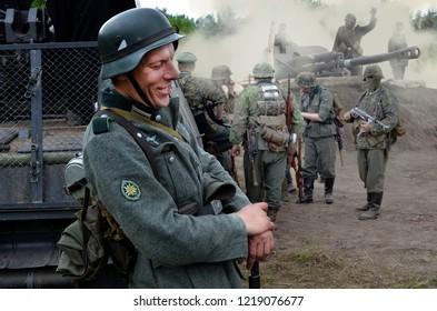 Sosnovy Bor, Leningrad Oblast / Russia - May 9, 2018: soldiers on vacation, reconstruction