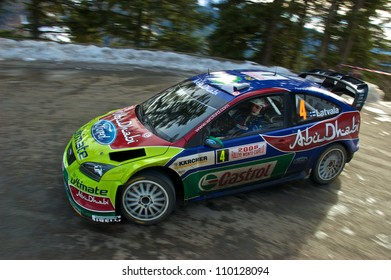 SOSPEL, FRANCE - JANUARY 27: Finnish driver Jari-Matti Latvala driving his Ford Focus WRC in the 76th Rally of Montecarlo. January 27, 2008 in Sospel, France