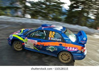 SOSPEL, FRANCE - JANUARY 27: French rally driver Alain Machard driving his Subaru Impreza N4 in the 76th Rally of Montecarlo. January 27, 2008 in Sospel, France