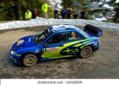 SOSPEL, FRANCE - JANUARY 27: Norwegian rally driver Petter Solberg driving his Subaru Impreza WRC in the 76th Rally of Montecarlo. January 27, 2008 in Sospel, France