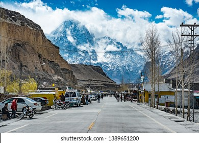 Sost, the city on the new silk road in Pakistan, one belt one road project, with the Karakoram range background, on the way to Khunjerab, on the way to Pakistan-China border, 4/22/2014.