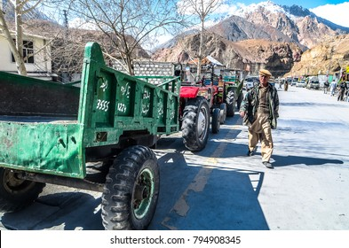 Sost, Pakistan - March, 2016: Farming vehicle along the side of the Karakoram Highway in the rural area of northern Pakistan
