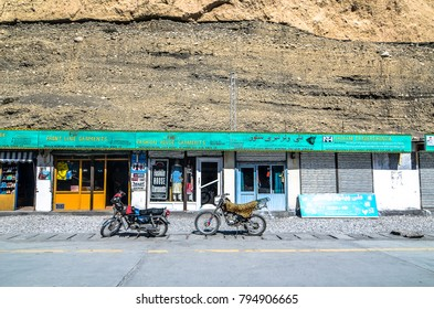 Sost, Pakistan - March, 2016: Small shops set up along the side of the Karakoram Highway in the rural area of northern Pakistan