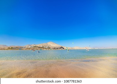 Sotavento, Risco El Paso, Fuerteventura, Canary Islands, Spain. Kite surfers paradise.