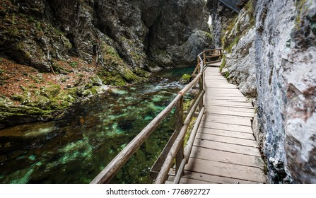 Soteska Vintgar, The Vintgar Gorge or Bled Gorge in Slovenia. Famous canyon with river Radovna, waterfalls and wooden bridges pathway. Touristic landmark of Slovenia.