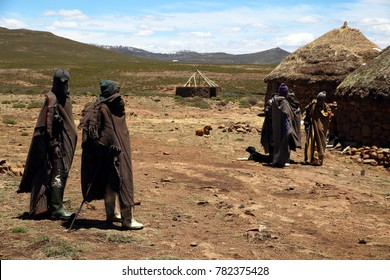 Sotho men in small village in Lesotho, South Africa