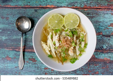Soto is a traditional Indonesian soup mainly composed of broth, chicken and vegetables.