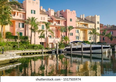 Sotogrande, Costa del Sol, Andalusia, Spain - September 28 2019: Port of Sotogrande. Port, sea, yachts and colorful houses.