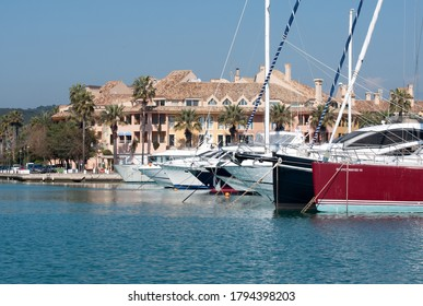 Sotogrande, Spain: 12 February 2011: Luxury yachts and boats in the marina at Sotogrande in Spain